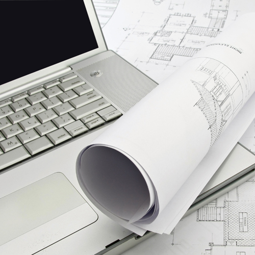 computer and blueprints